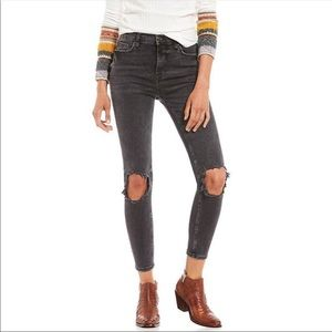 Free People High Rise Busted Skinny Charcoal Black